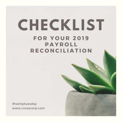 Checklist for 2019 Payroll Reconciliation