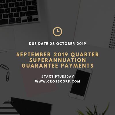 September 2019 Quarter Superannuation Guarantee Payments